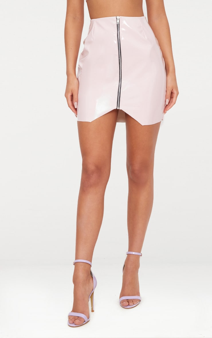 Pale Pink Zip Front Vinyl Mini Skirt 2