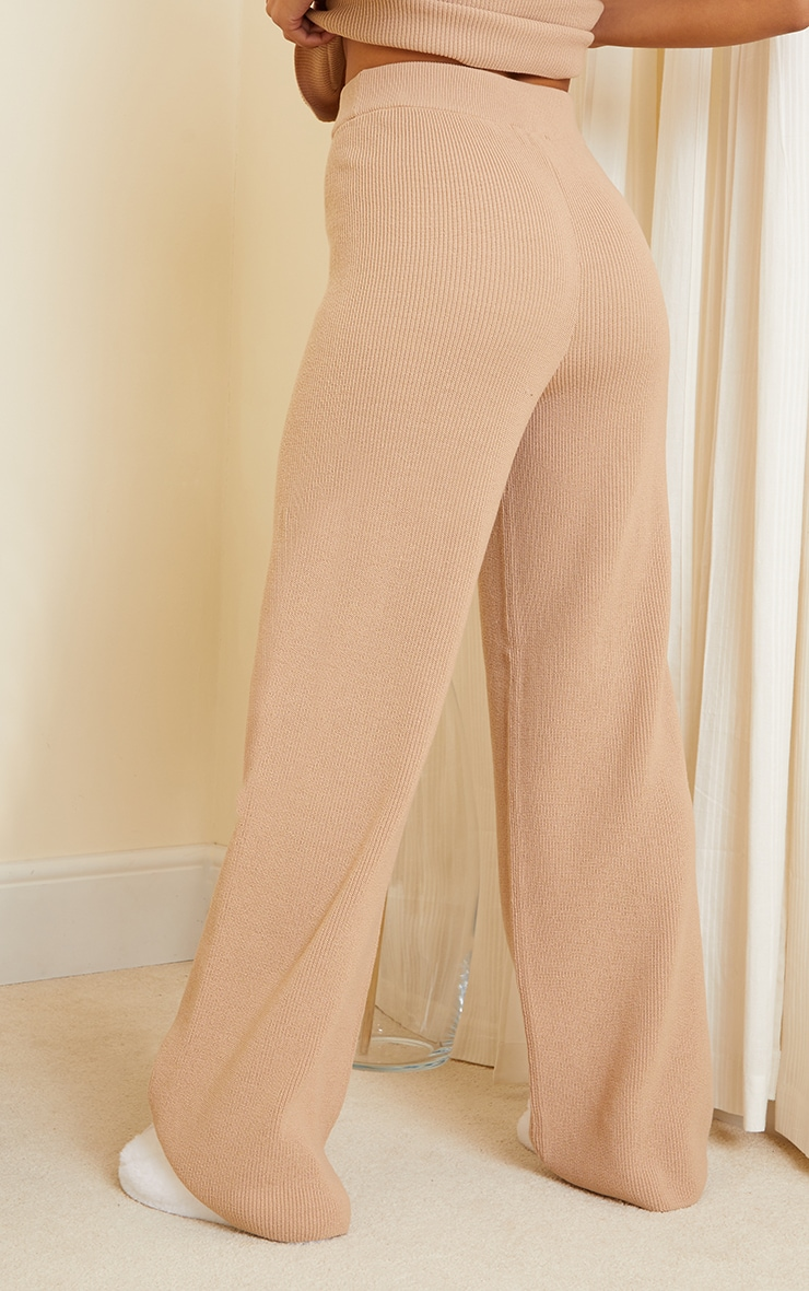 Camel Knitted Flared Trouser 3