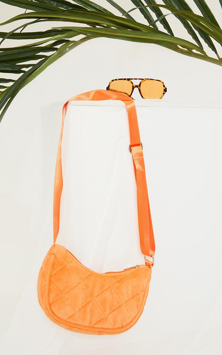 Orange Velour Diamond Quilted Shoulder Bag 2