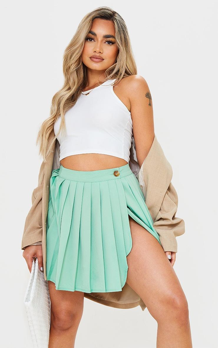 Petite Sage Green Button Detail Tennis Skirt 4
