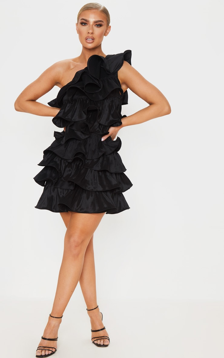 Black One Shoulder Tiered Frill Shift Dress 3
