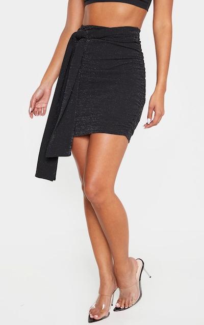 Black Textured Glitter Bow Detail Mini Skirt