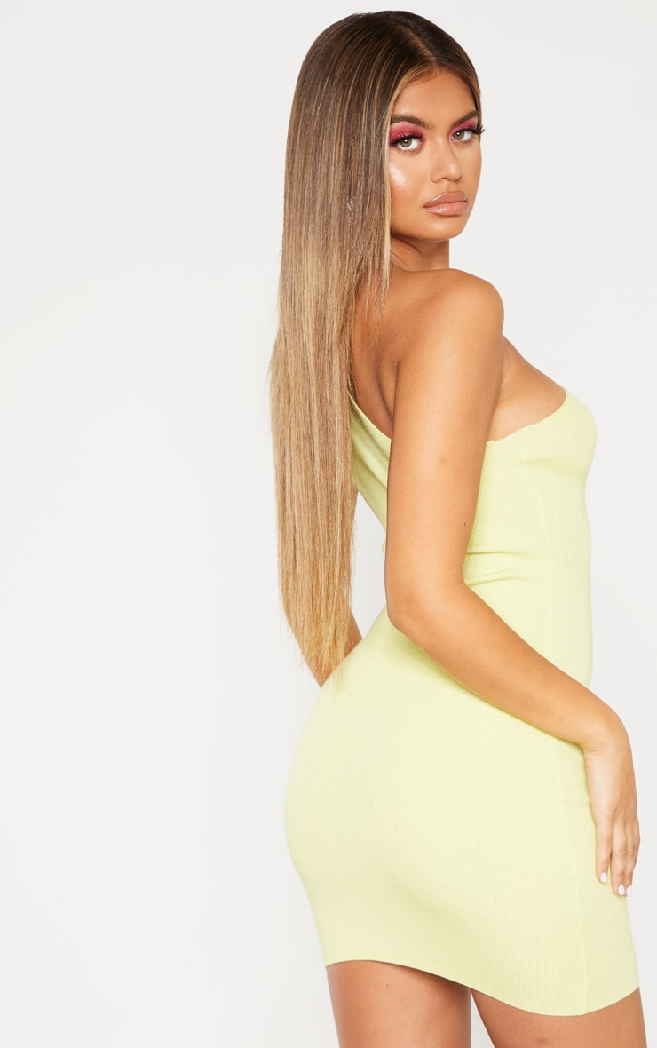 Lime Asymmetric Ring Detail Knitted Dress 2