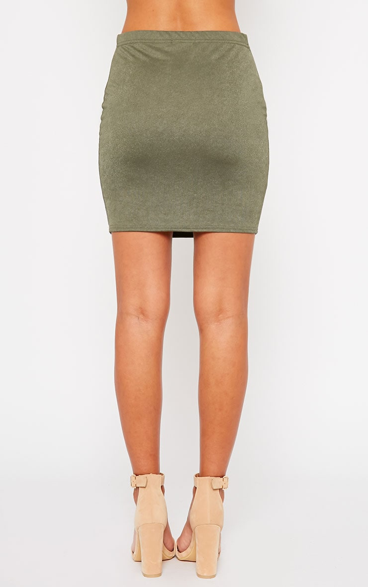 Emilia Khaki Crepe Mini Skirt 4