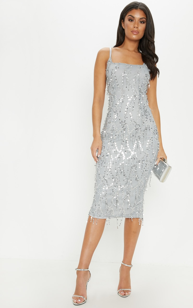 Silver Sequin Block Square Neck Midi Dress