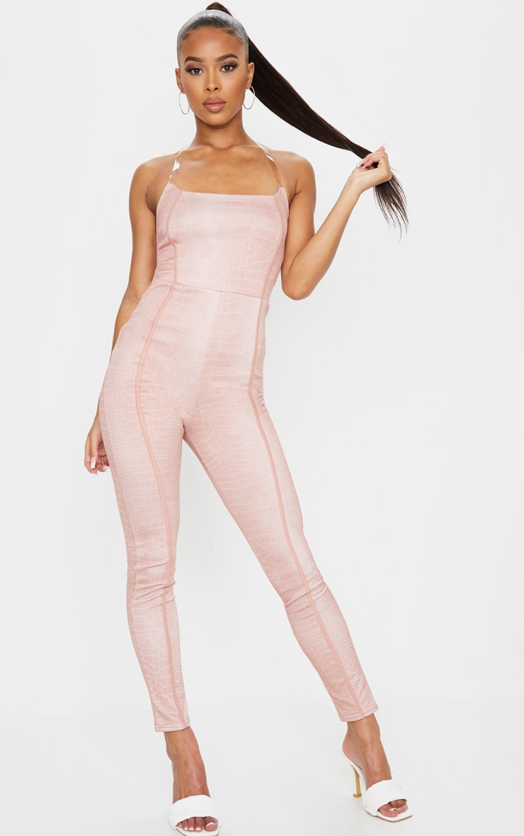Nude Snake Print Clear Strap Binding Detail Jumpsuit 1