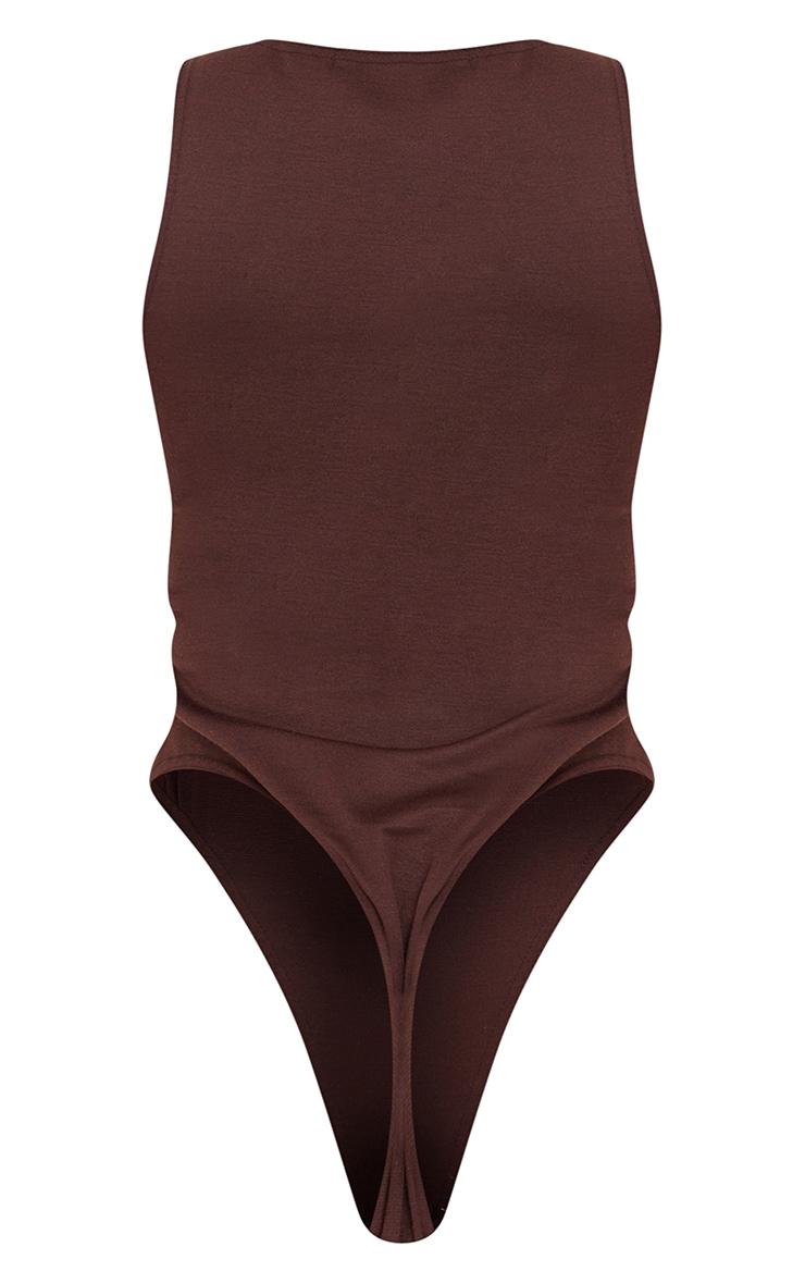 Chocolate Ponte Racer Back Thong Bodysuit 6