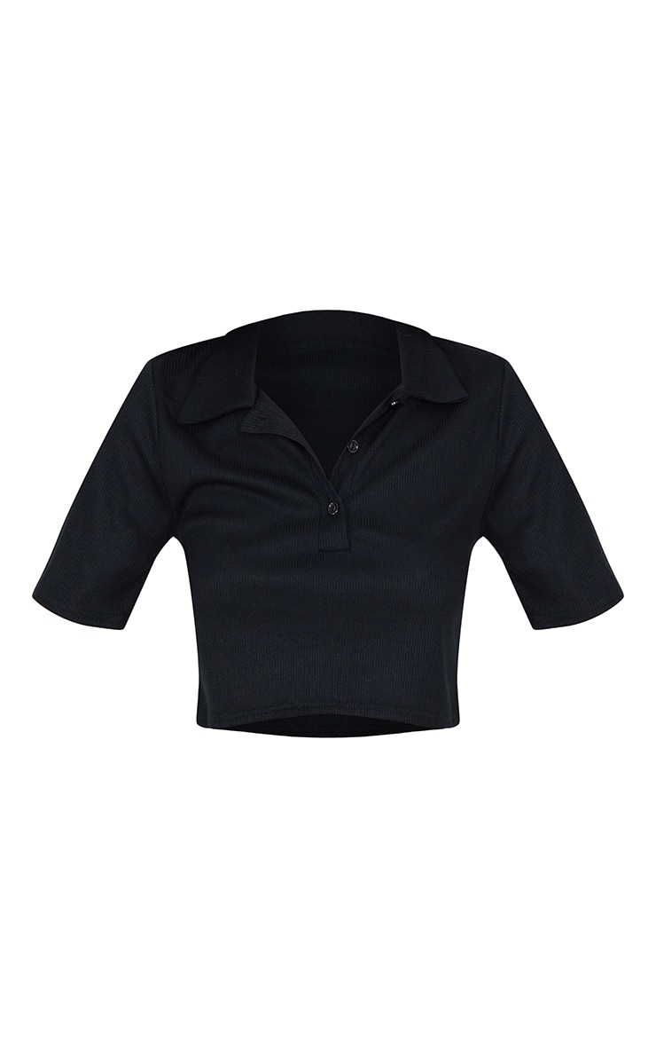 Black Rib Short Sleeve Collar Crop Top 5