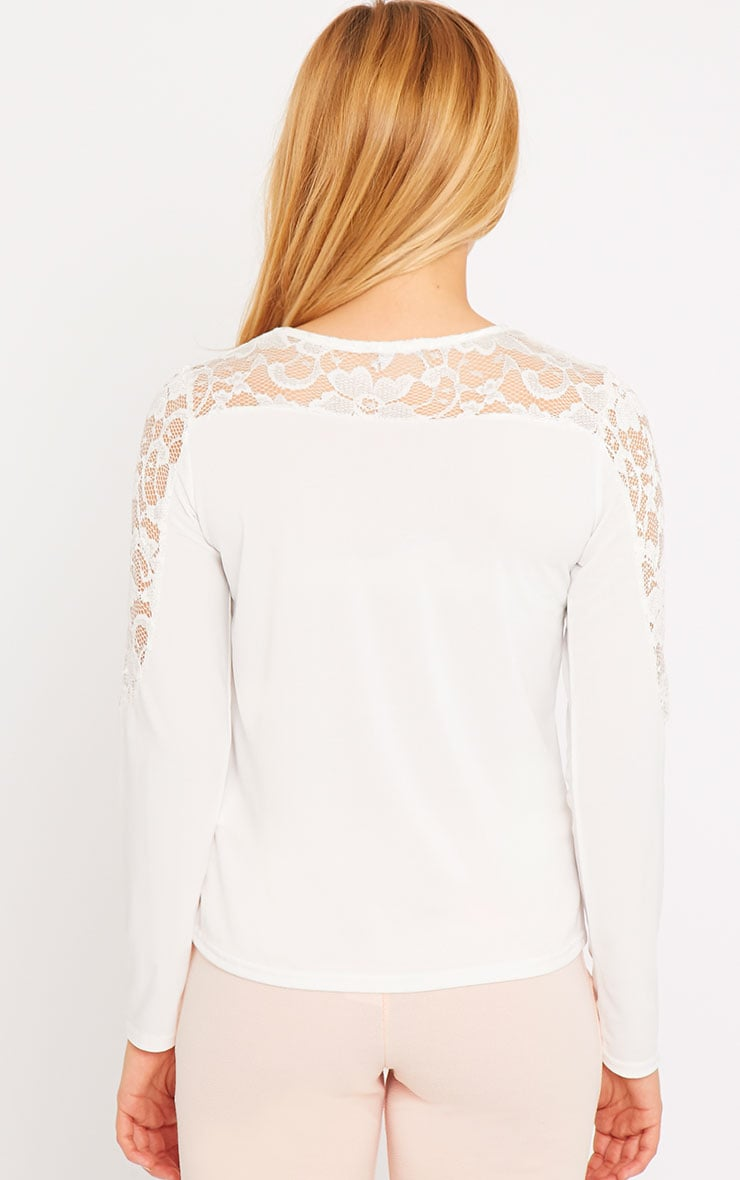 Loretta White Long Sleeve Lace Panel Top 2