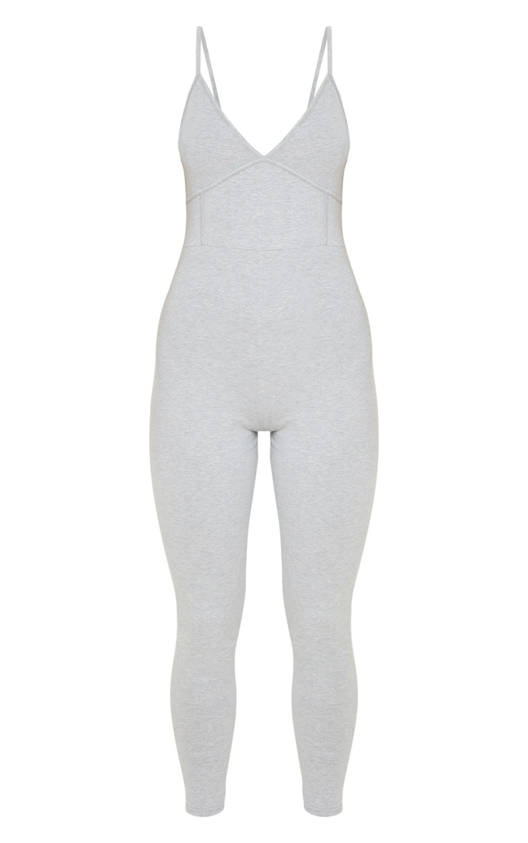 Grey Strappy Binding Detail Plunge Jumpsuit 3