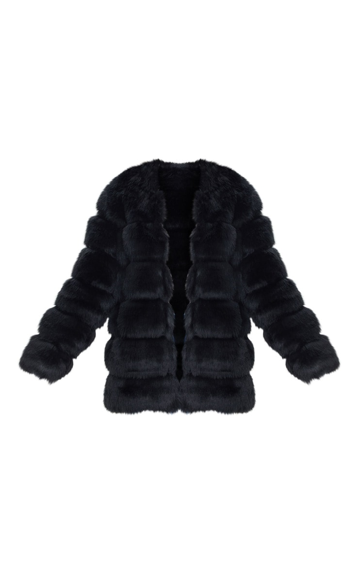 Black Faux Fur Bubble Coat 3