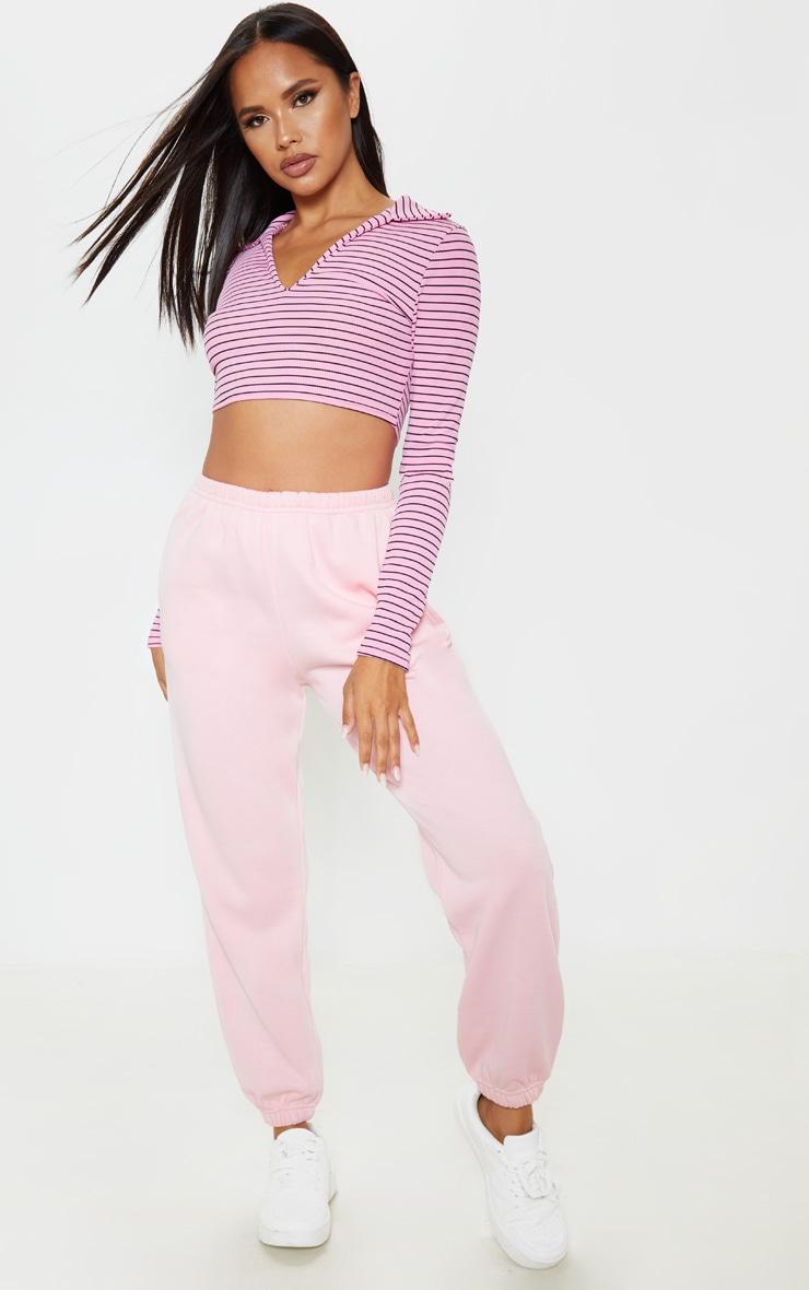 Pink Stripe Rib Collar Crop Top 4