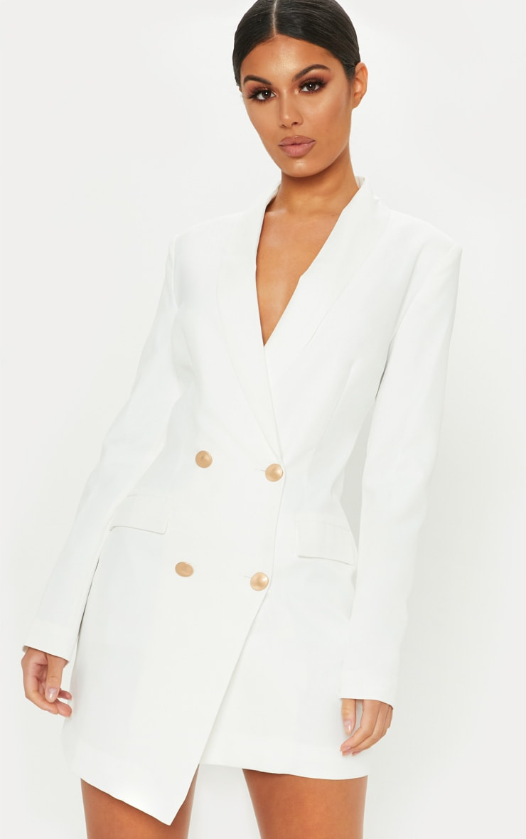 White Gold Button Blazer Dress 3
