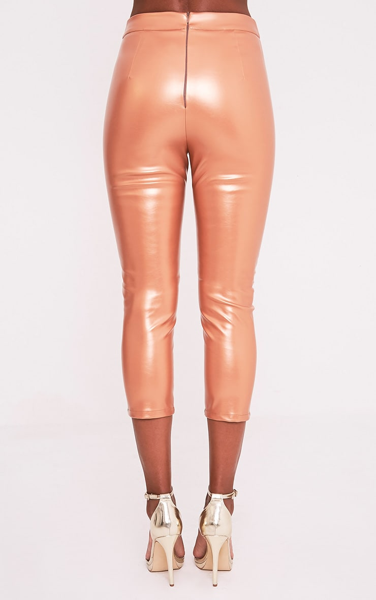 Daysha Bronze Cropped Leather Trousers 5