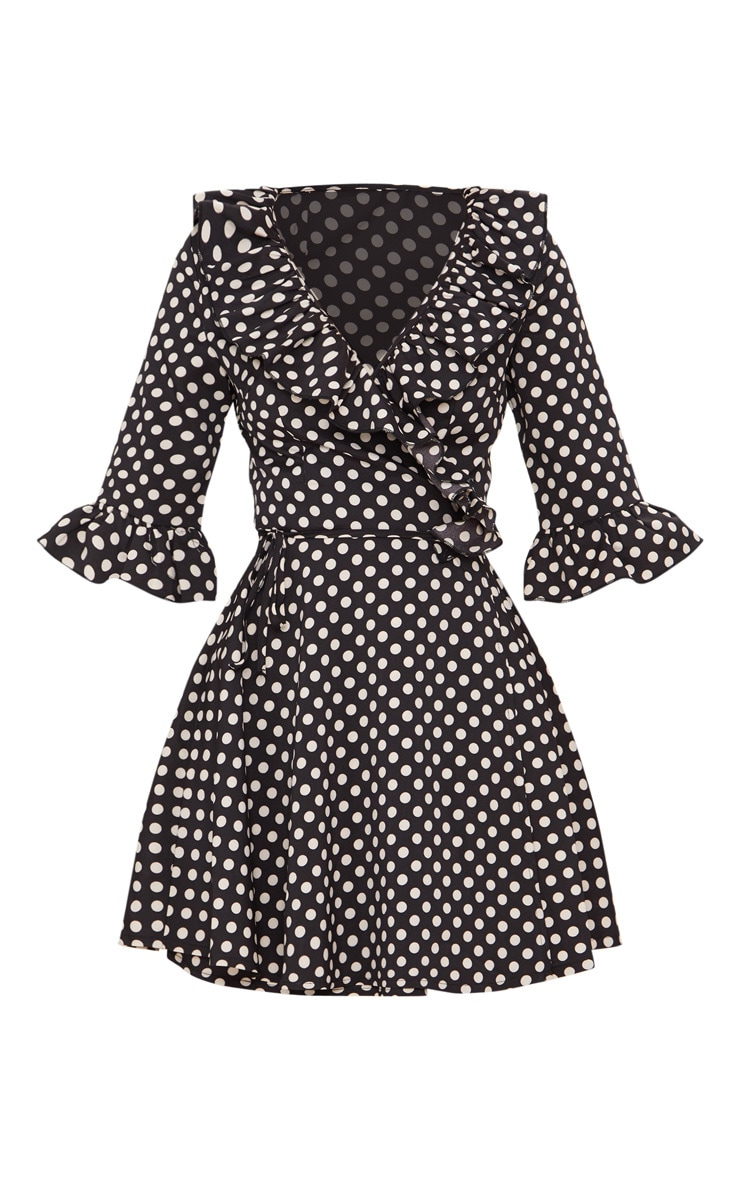 Petite Black Polka Dot Frill Detail Wrap Dress 3