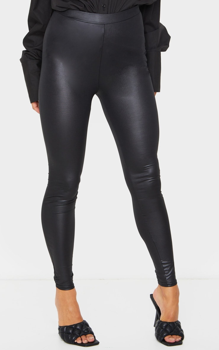 Black Ruched Bum Coated Leggings 2