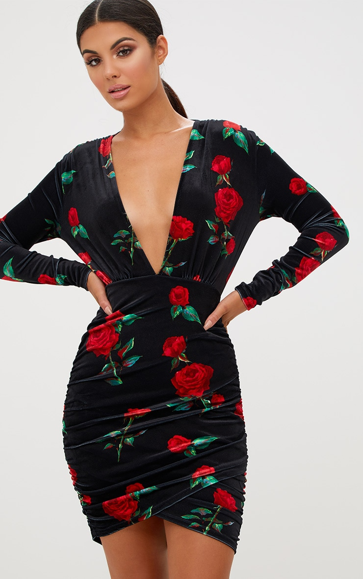 Black Floral Printed Velvet Ruched Bodycon Dress
