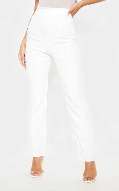 White Woven Button Cuff Detail Straight Leg Trouser