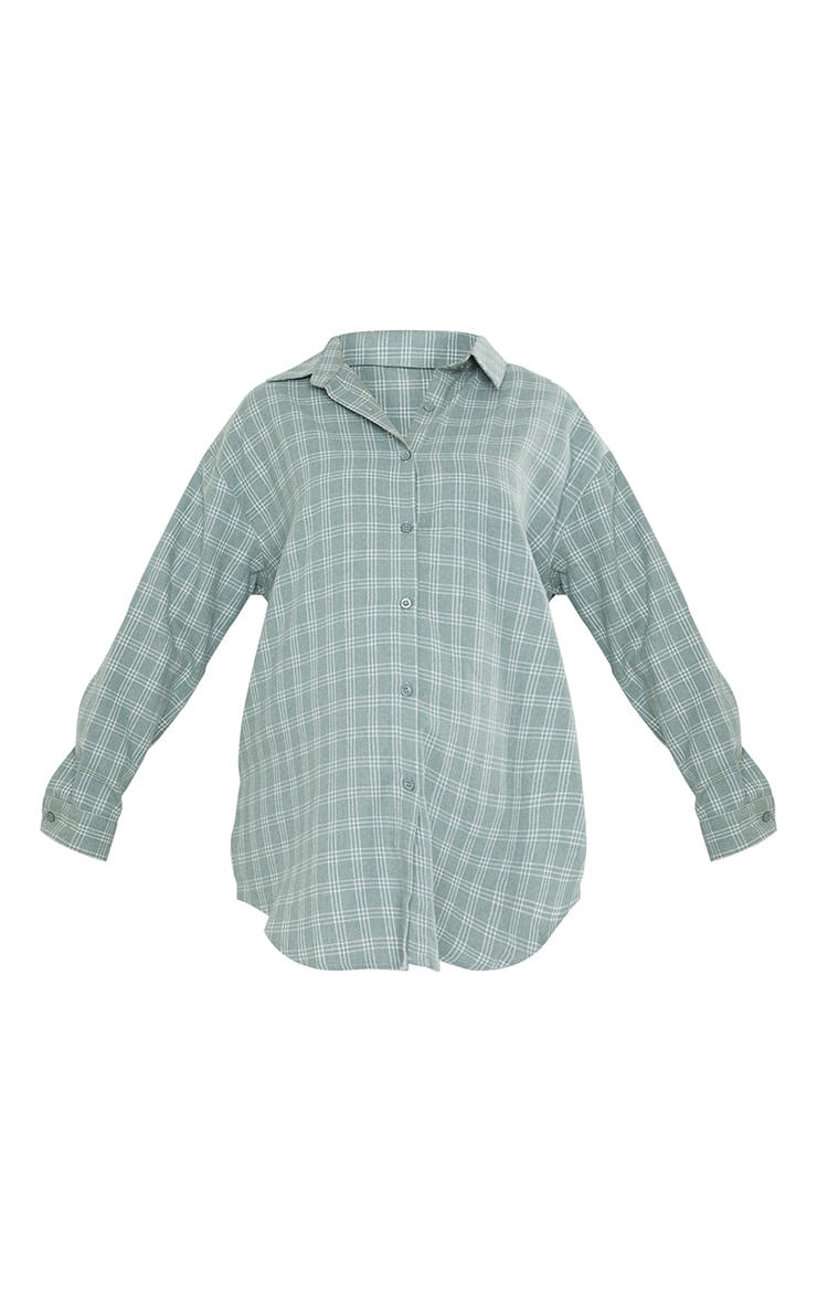 Maternity Washed Green Checked Oversized Shirt 5