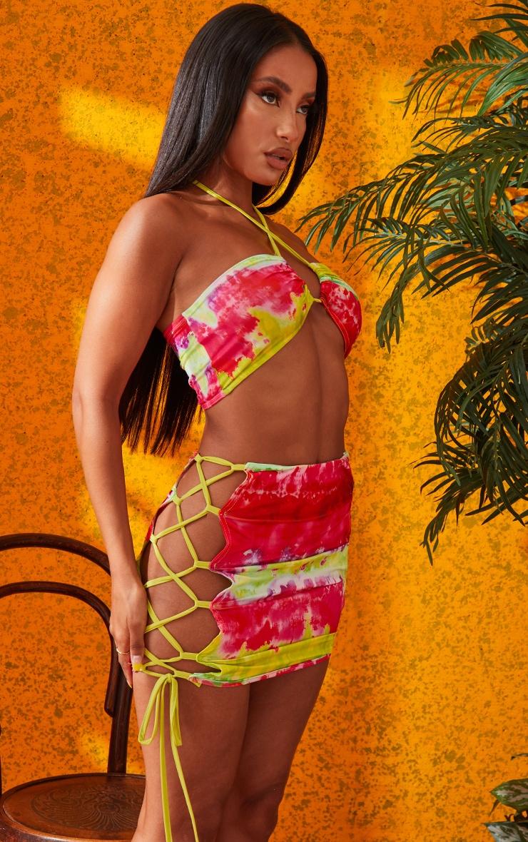 Multi Lime Printed Tie Side Mini Skirt 5