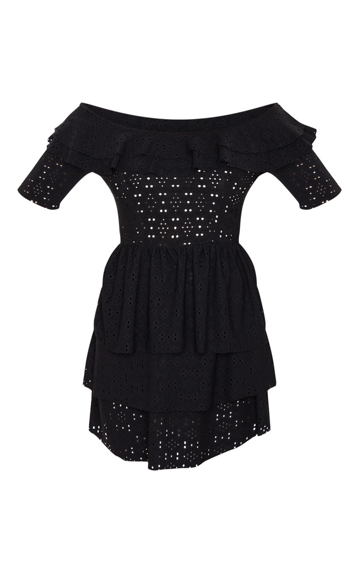 Petite Black Frill Mini Dress 5