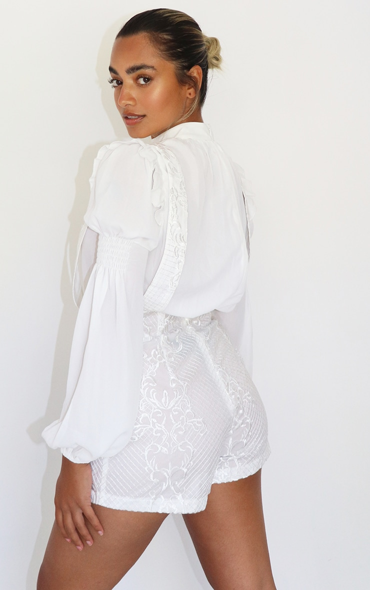Petite Cream Chiffon Embroidered Playsuit 2