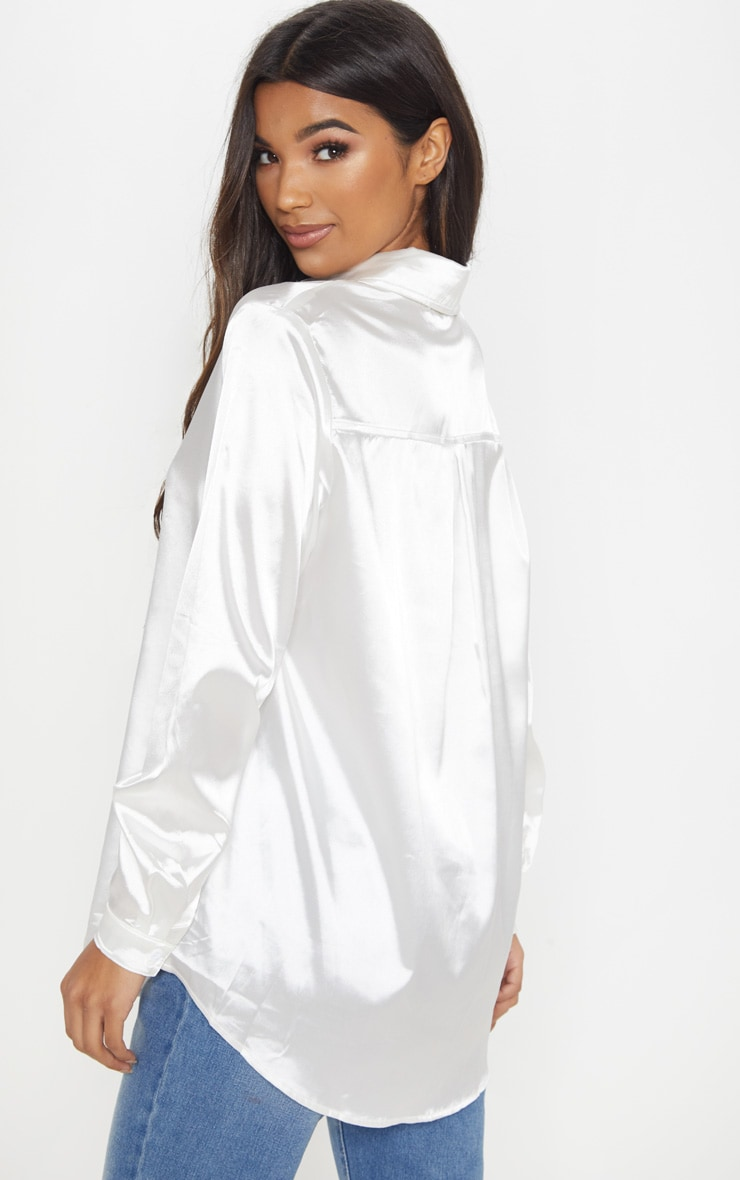 White Satin Button Front Shirt 2