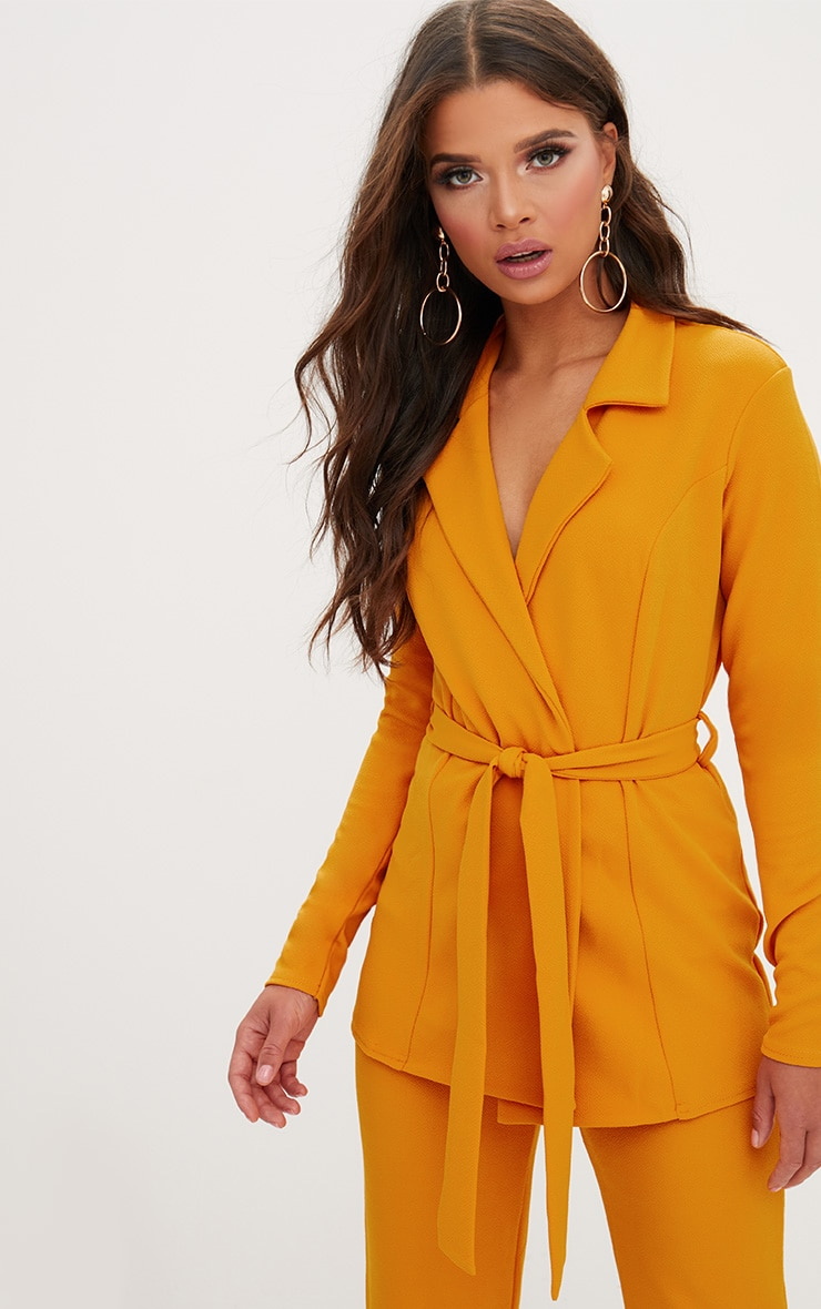 2d2cbadb4e65 Mustard Belted Blazer. Coats   Jackets