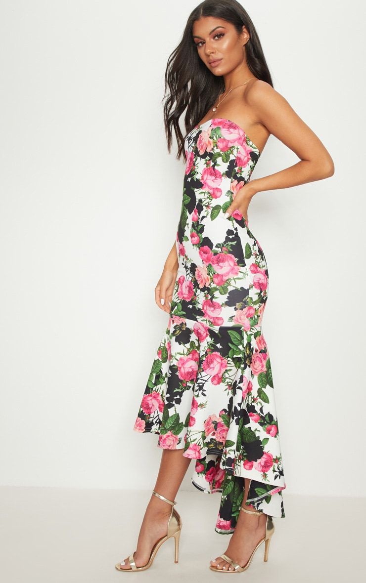White Floral Bandeau Fishtail Midi Dress 4