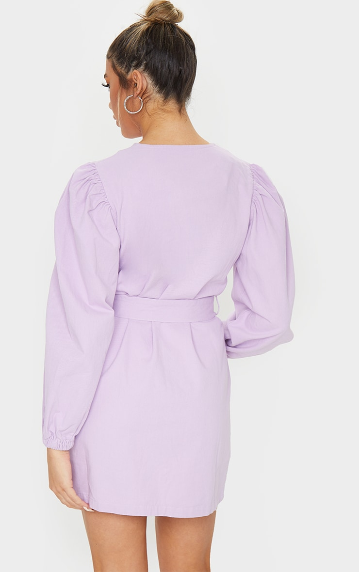 Lilac Button Through Balloon Sleeve Belted Denim Dress 2