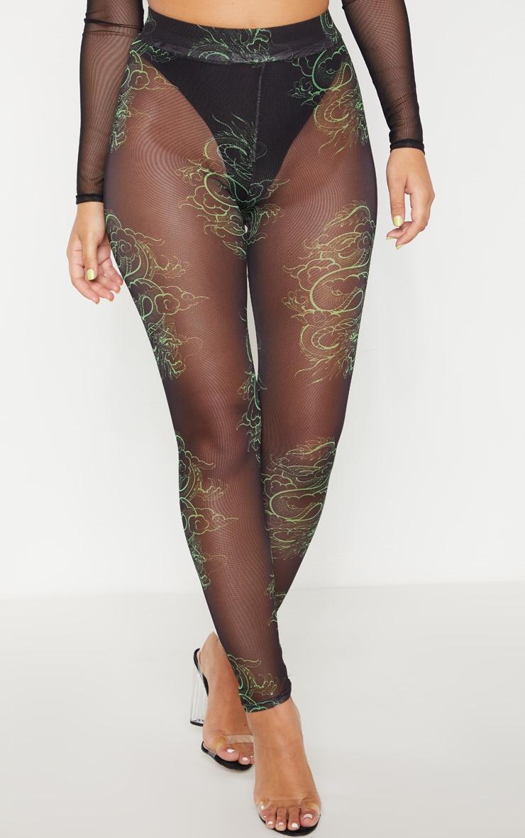 Neon Green Dragon Print Mesh Legging 2