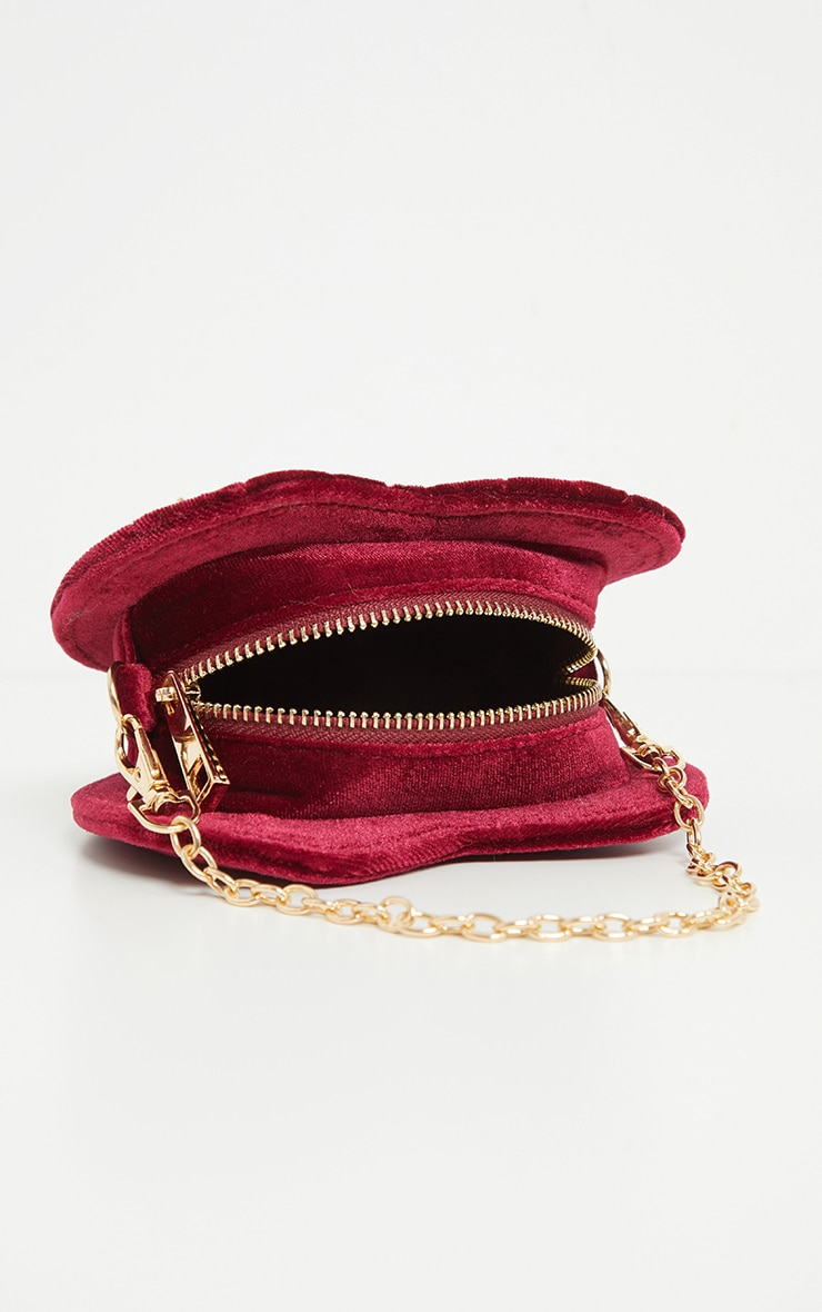 Burgundy Velvet Quilted Heart Chain Mini Bag 3