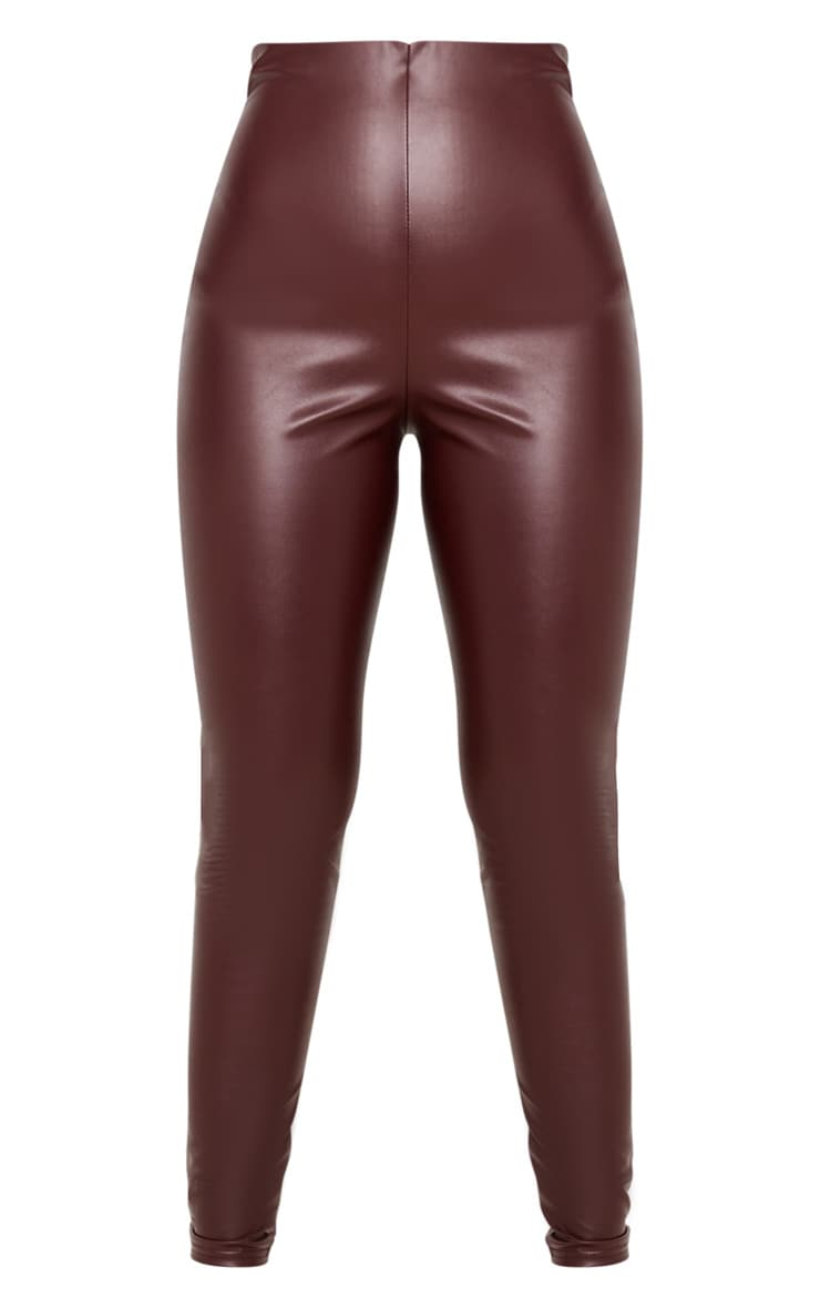 Burgundy Faux Leather High Waisted Legging  3