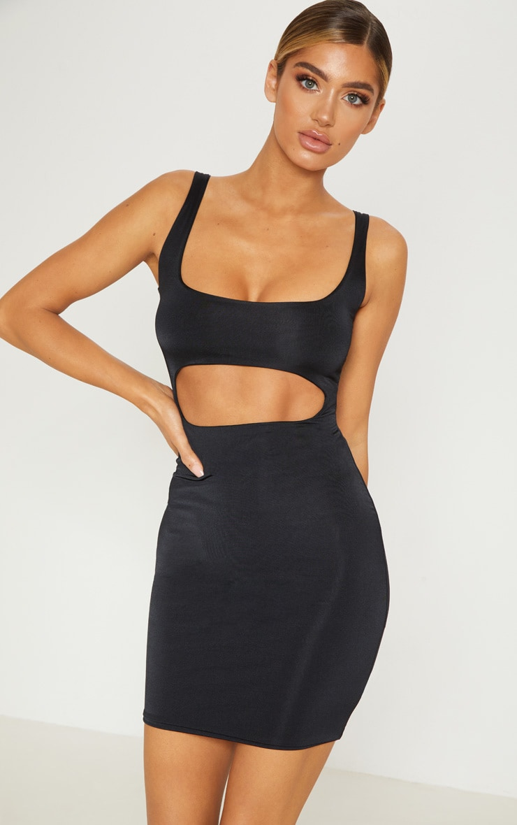 Black Double Layered Slinky Cut Out Centre Bodycon Dress 1