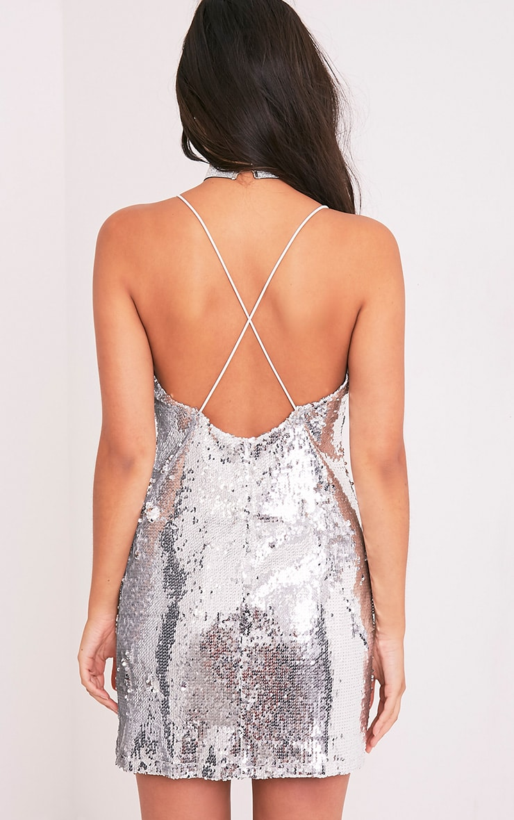 Sharlie Silver Cross Back Sequin Slip Dress 2