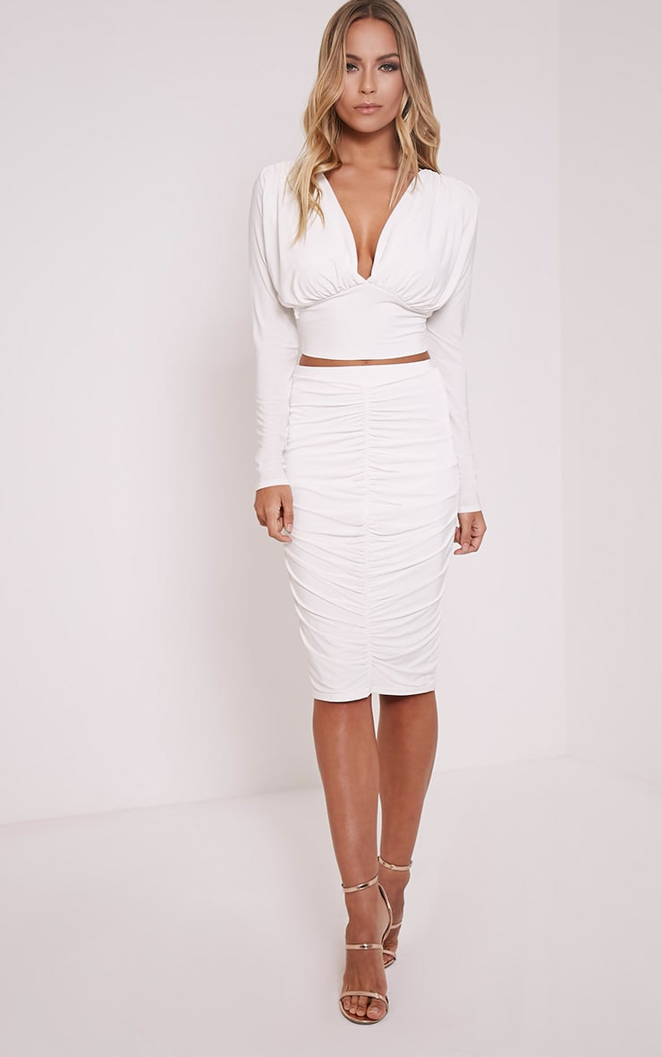 Nicole Cream Slinky Ruched Midi Skirt 1