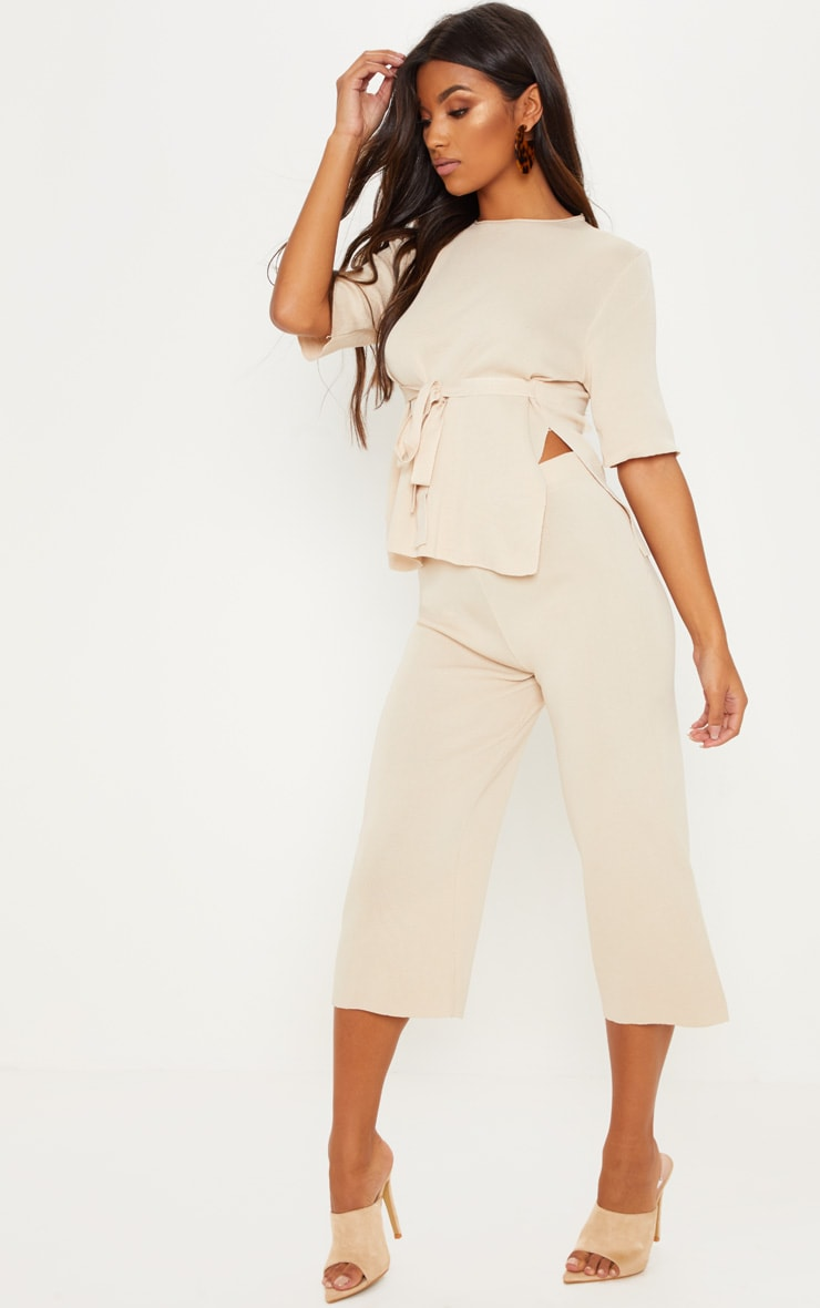 Beige Fine Knit Tie Waist Top & Culotte Lounge Set