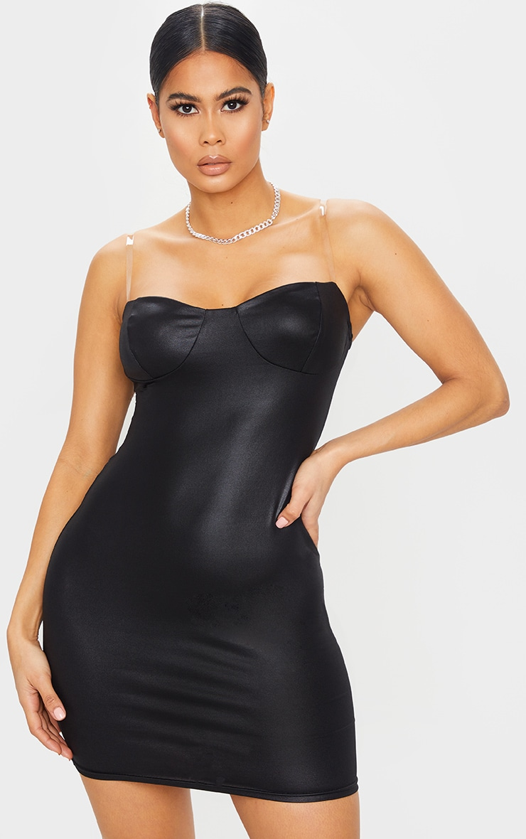 Black Clear Strap Cup Detail Wet Look Bodycon Dress 1