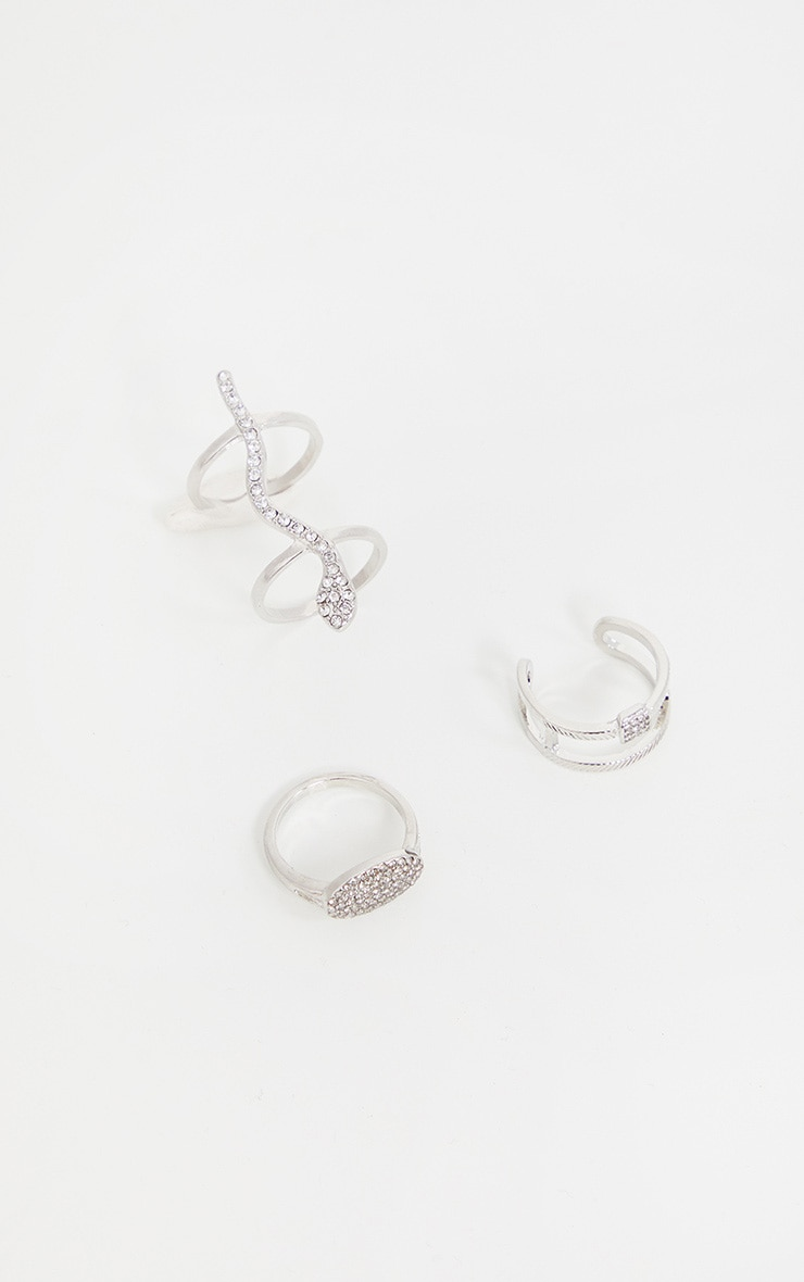 Silver Ring Pack With Snake and Rope