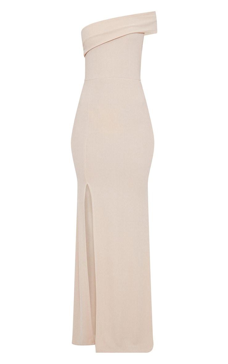 Nude One Shoulder Bardot Split Detail Maxi Dress 3