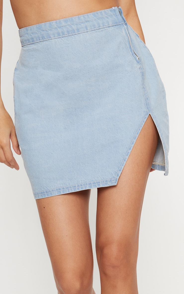 Light Wash Extreme Split Denim Mini Skirt 7