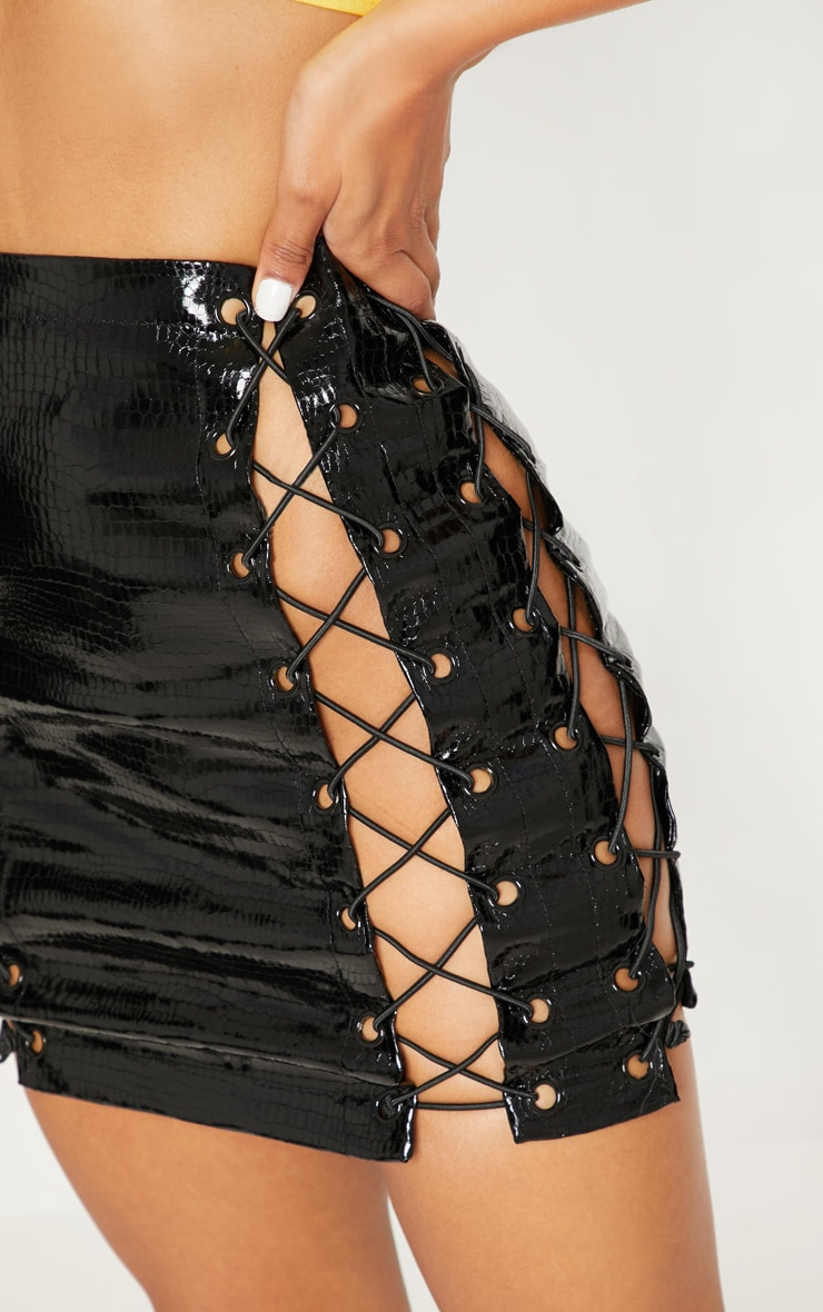 Black Croc Vinyl Extreme Lace Up Mini Skirt 7