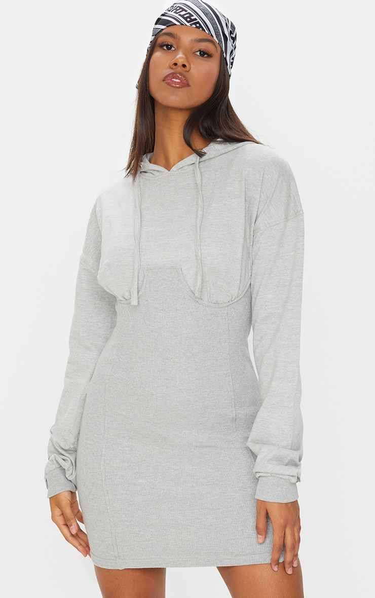Grey Ribbed Sweat Contrast Cup Detail Jumper Dress 1