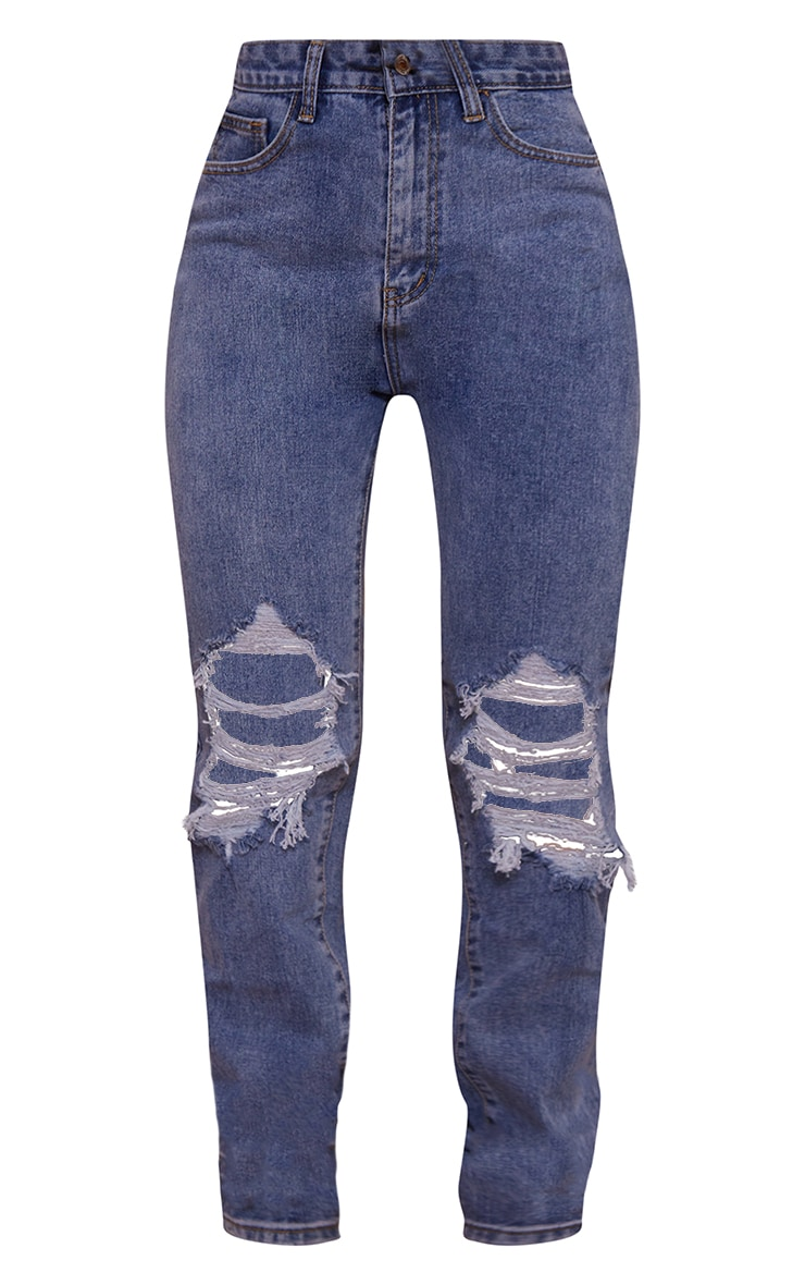 Mid Blue Wash Ripped Knee Long Leg Straight Jeans 5