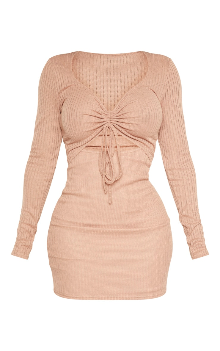 Shape Stone Knit Ruched Front Cut Out Midi Dress 3