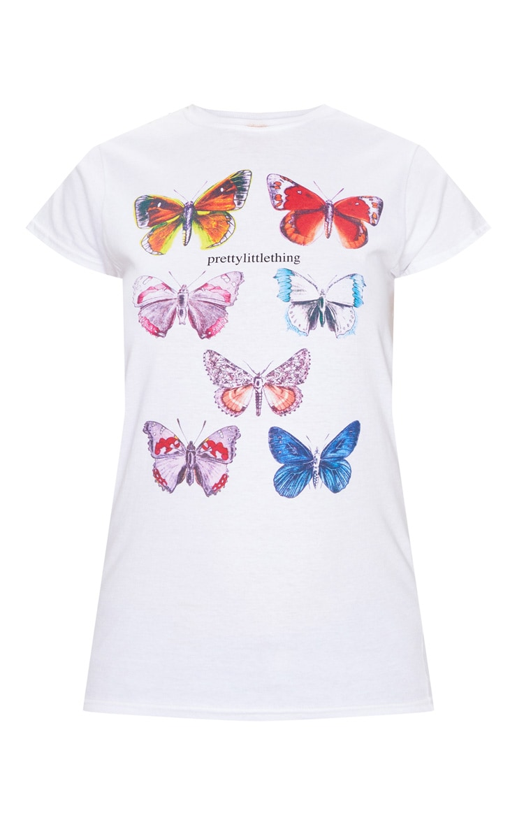 White Butterfly Printed Fitted T Shirt 5