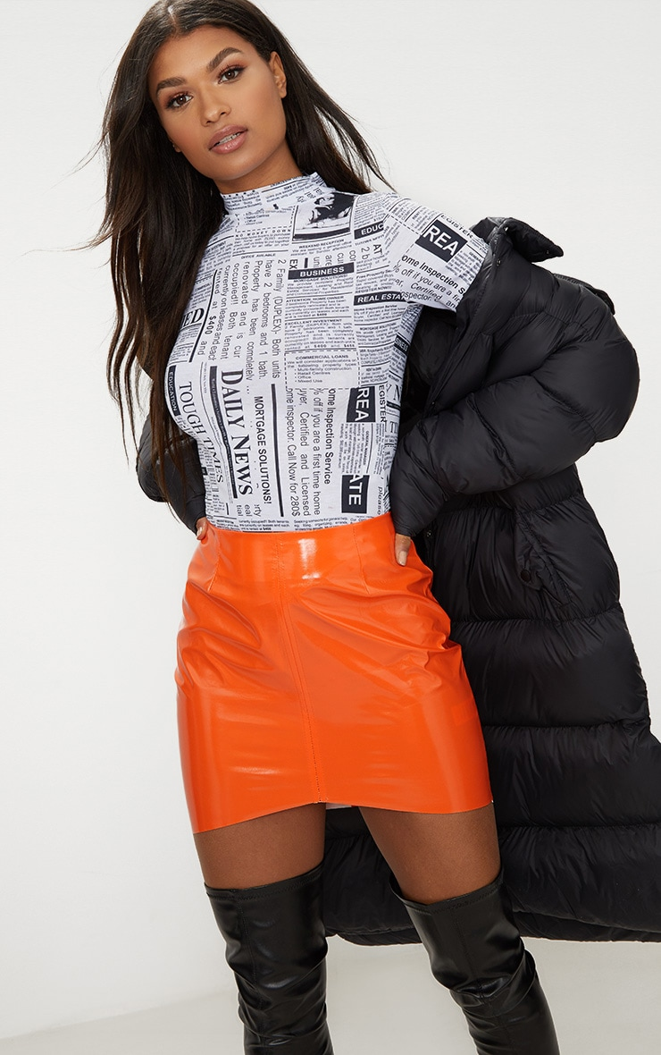 Orange Vinyl High Waisted Zip Up Mini Skirt 1