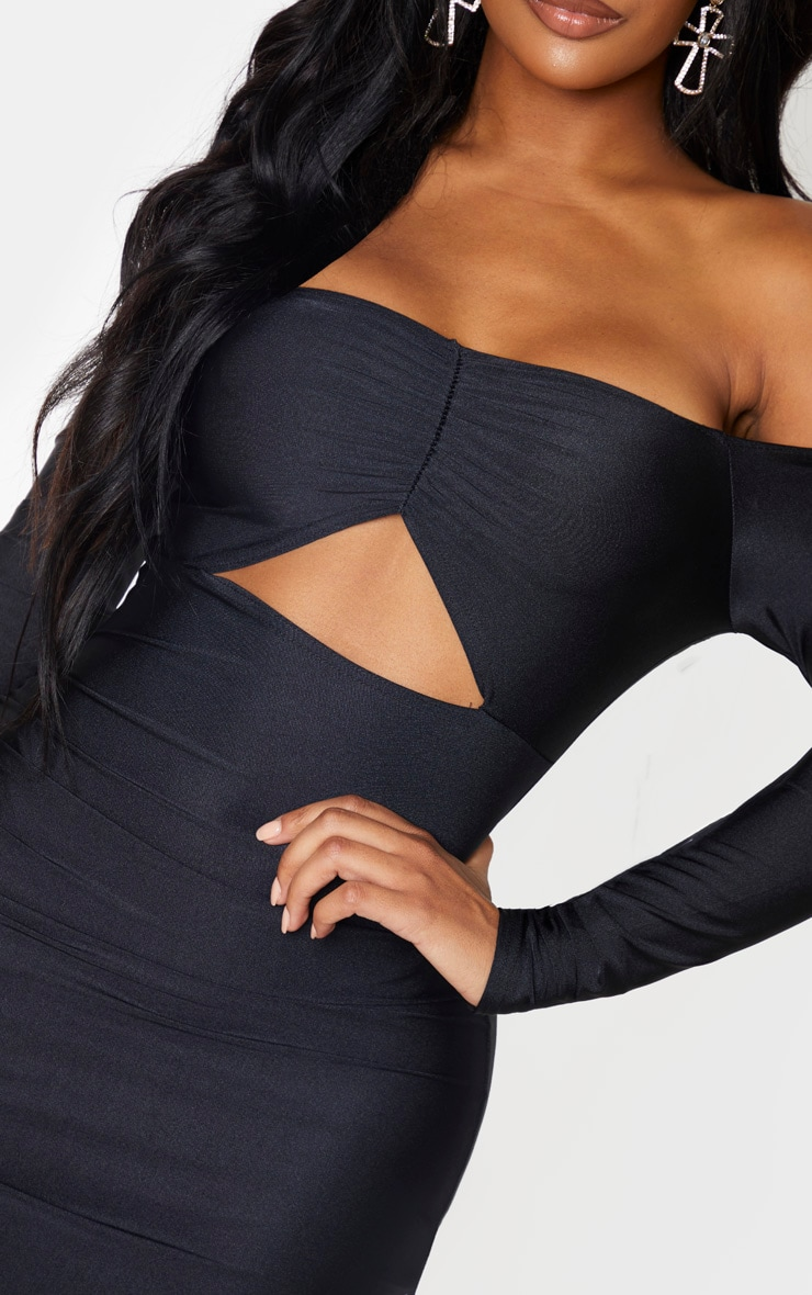 Black Slinky Bardot Ruching Bust Bodycon Dress 5