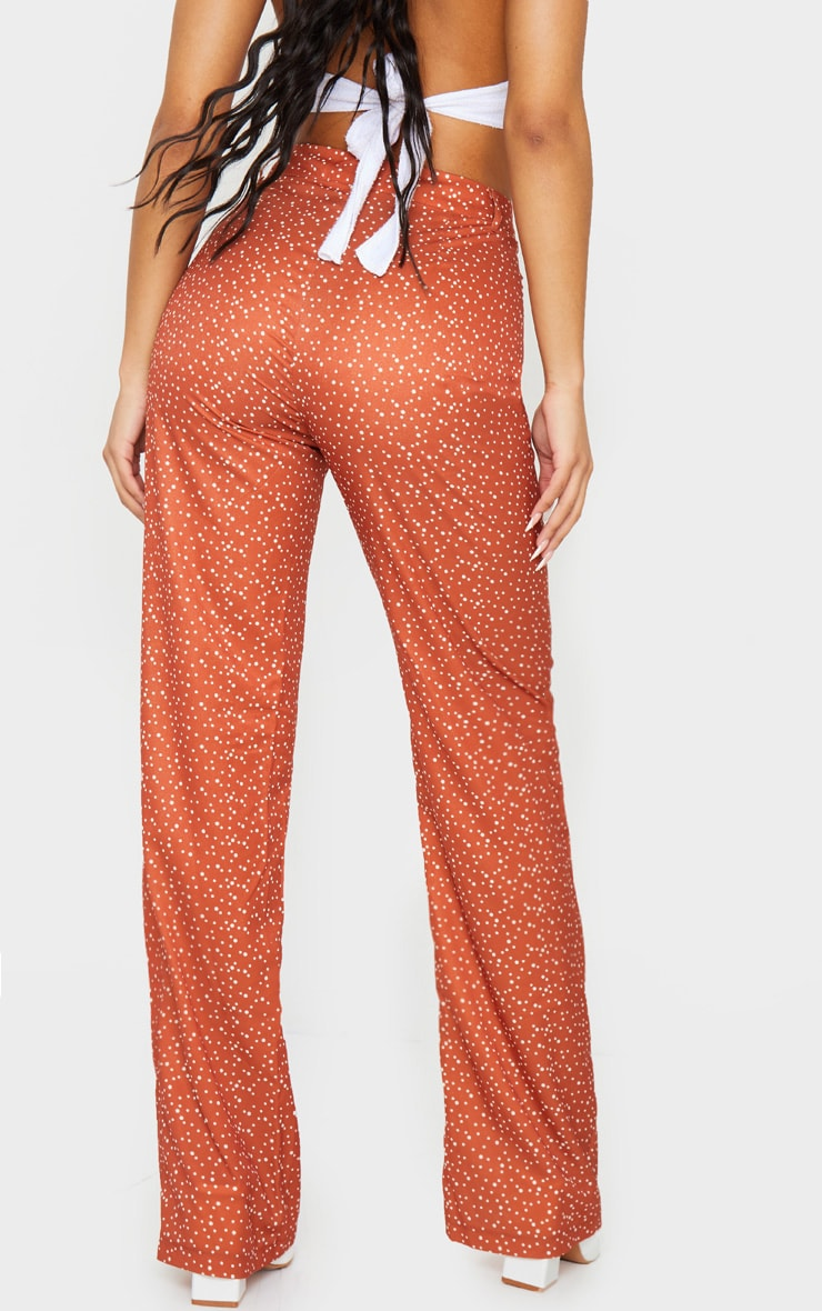 Rust Polka Dot High Waisted Straight Leg Pants 3