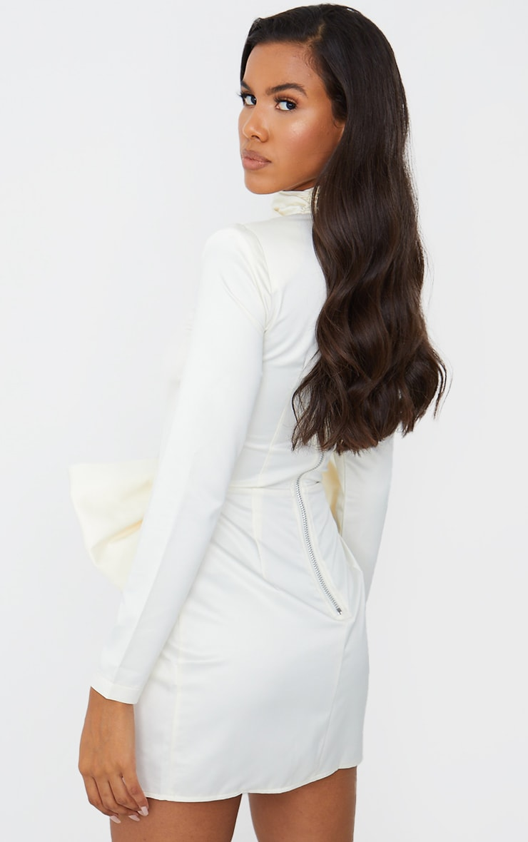 White Cut Out Bow Detail High Neck Bodycon Dress 3